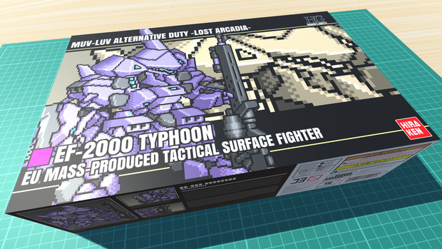 EF-2000 タイフーン / 16色ドット絵ガンプラ箱絵風3D