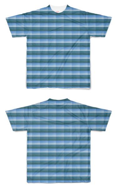 Tシャツ フルグラフィック 海マス目