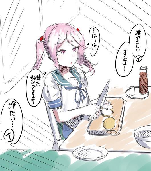 お疲れの提督に梨と麦茶を用意してくれるやさしい秘書艦漣