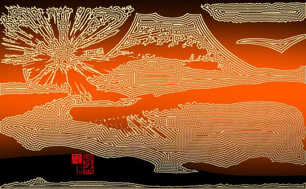 「初日の出 112」※金色・背景朱色・おむ09032
