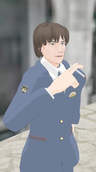 mmd 片野坂教官の休憩の楽しみ 未満警察