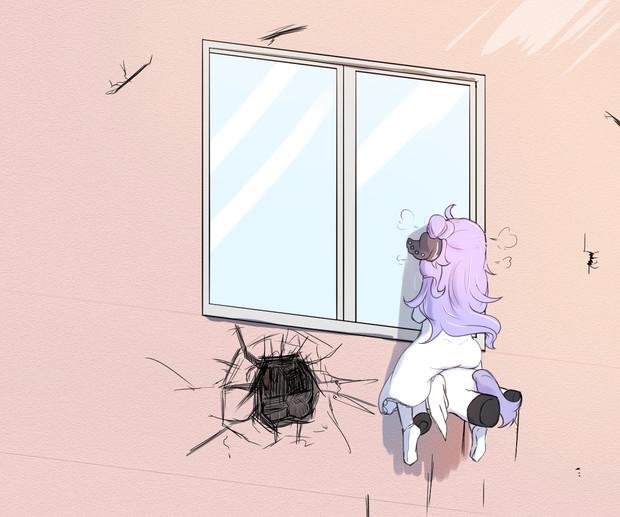2階にある指揮官の部屋を覗き見するユニコーン(外側)