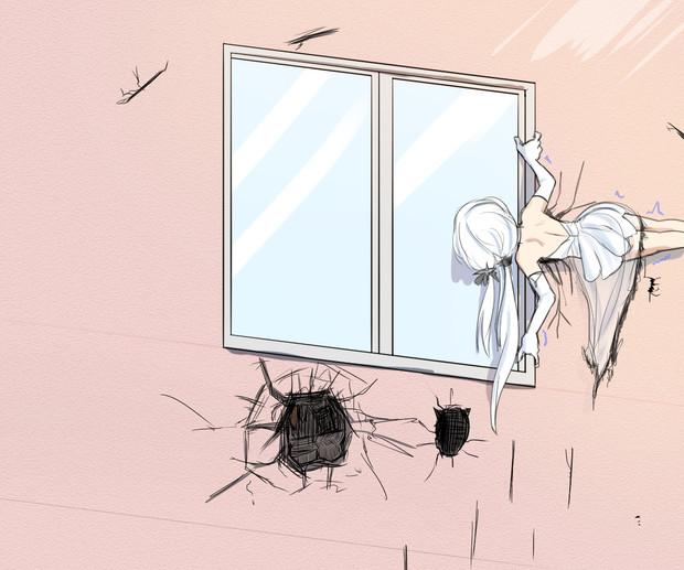 2階にある指揮官の部屋を覗き見するイラストリアス(外側)