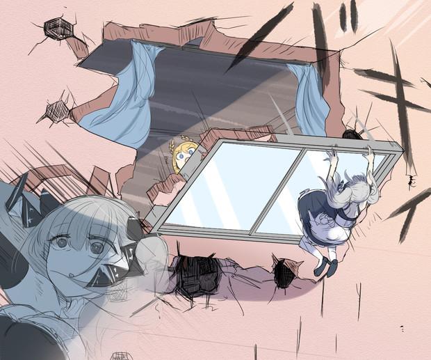 2階にある指揮官の部屋を覗き見するフォーミダブル(外側)