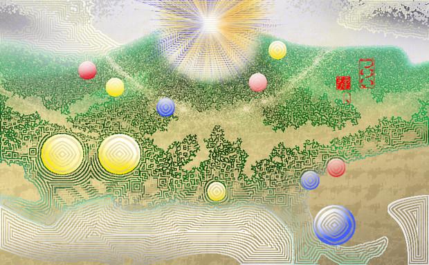 「ツリー 42」※線画・彩・背景金色・おむ09099