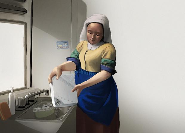 ヨハネス・フェルメール - ペヤングを湯切る女