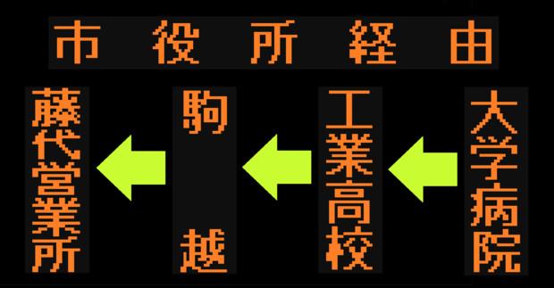駒越線の方向幕(弘南バス)