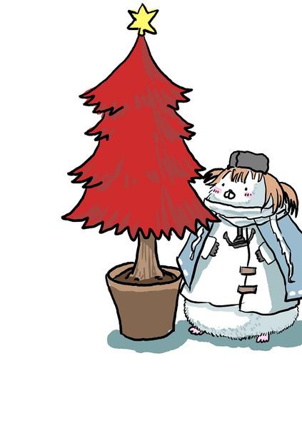 赤いツリーを飾ってご満悦のタシュ(ワンドロ201124)