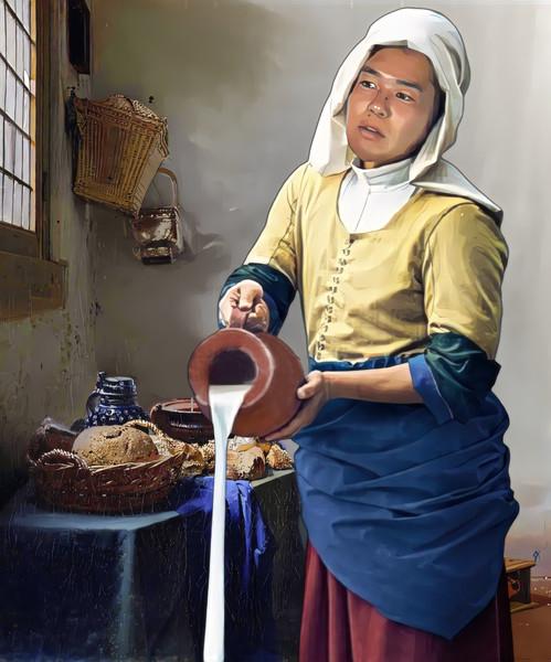 牛乳(?)をこぼす女