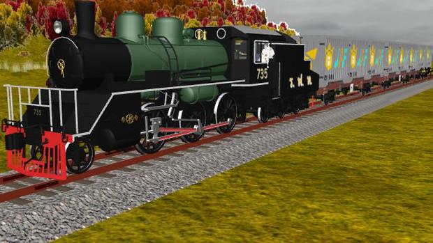しろげとコンテナ貨物列車