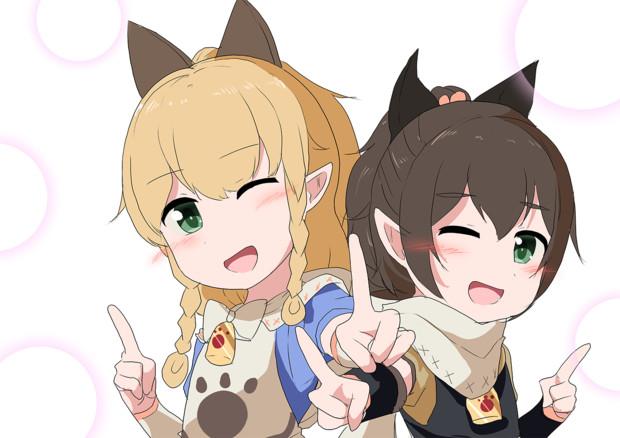 ネコ嬢姉妹でダンス!