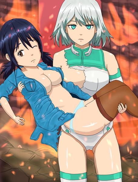 戦闘でボロボロの姿になった上園美波ちゃんとアルマちゃん