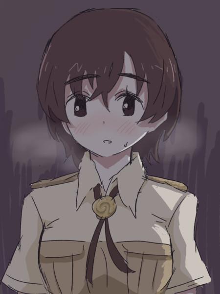 暗がりに連れられた隊長さん