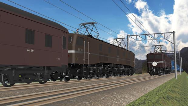 【MMD鉄道】EF58お召し機の離合