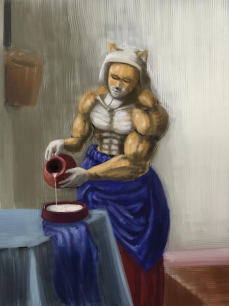 牛乳を注ぐ太郎丸
