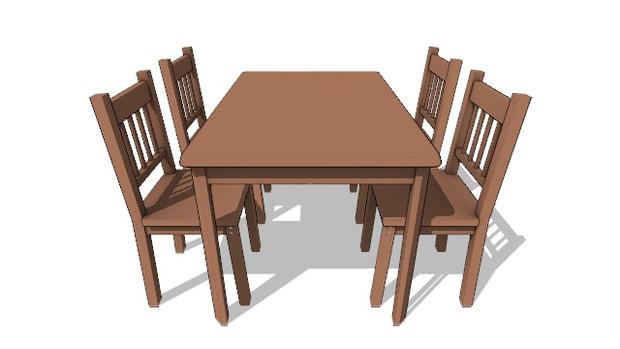 【モデル配布あり】テーブル1+椅子1