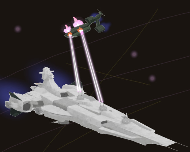 戦艦バーミンガムとムサイ