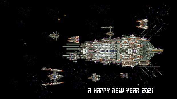ゲーム画面風 宇宙で A HAPPY NEW YEAR2021