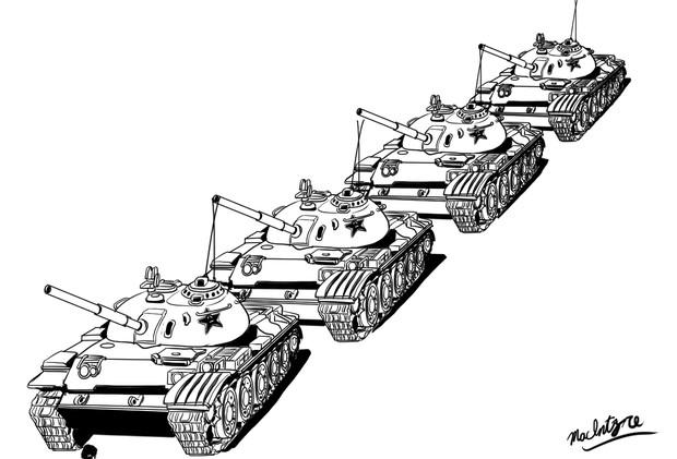 中国人民解放軍・59式戦車くんの行列
