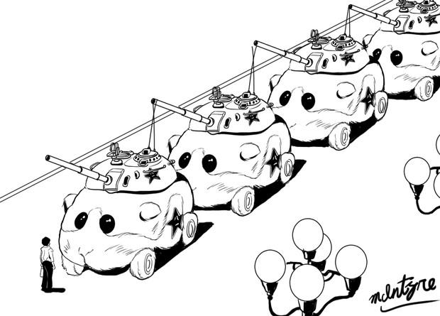 北京観光するモルカーちゃんの行列と一般通過市民