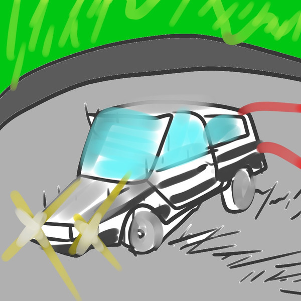 ユーロビートを流しながらドリフトする自家用車