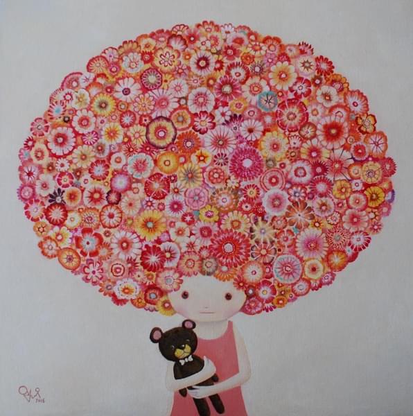お花の女の子とクマ