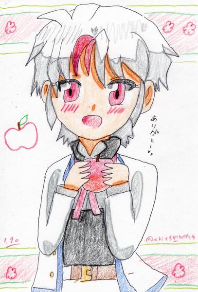 頑張るお姉ちゃんに林檎をプレゼント