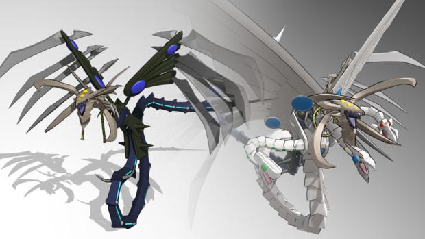 【MMDモデル配布】鎧黒竜-サイバー・ダーク・ドラゴン