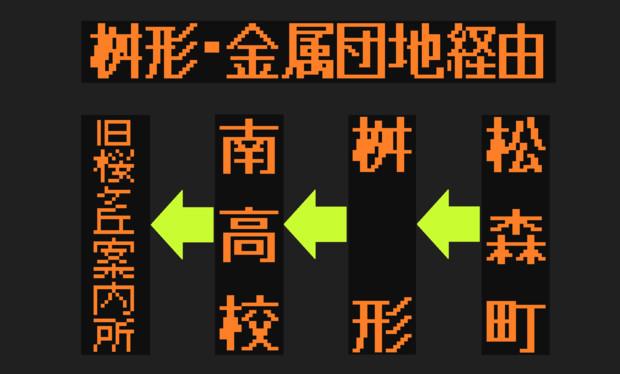 南高校・桜ヶ丘線(桝形経由)のLED方向幕(弘南バス)