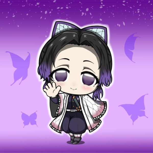 鬼滅の刃  胡蝶しのぶ 「ミニキャラ」背景ありバージョン