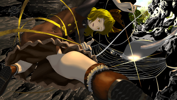 暗い洞窟の明るい網