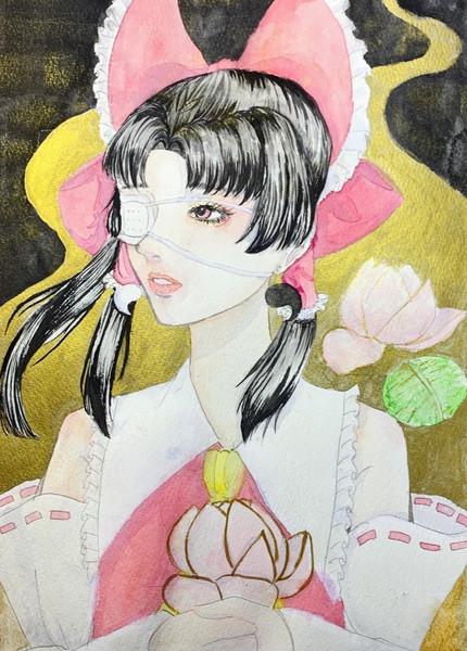 蓮の花と霊夢