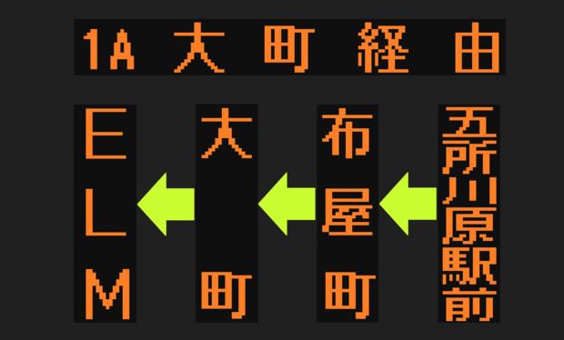 【幻】五所川原商店街循環バス(6コース)のLED方向幕(弘南バス)