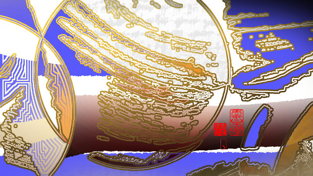 「黒蜜白玉団子 01」※線画・金色・背景青色・おむ09221