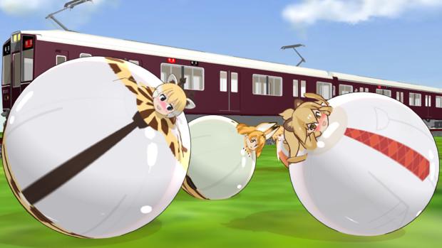 電車が通る公園にて