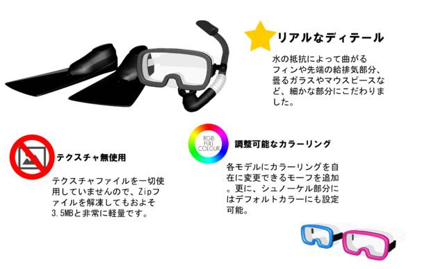 【v2.0更新】シュノーケルセット【モデル配布】