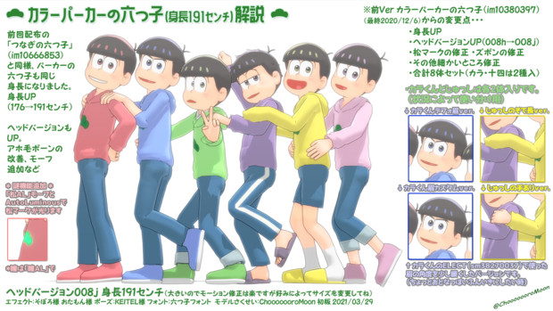 【解説】カラーパーカーの六つ子(高身長Ver)