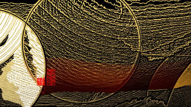 「黒蜜白玉団子 01」※版画効果・金色・背景黒・おむ09239