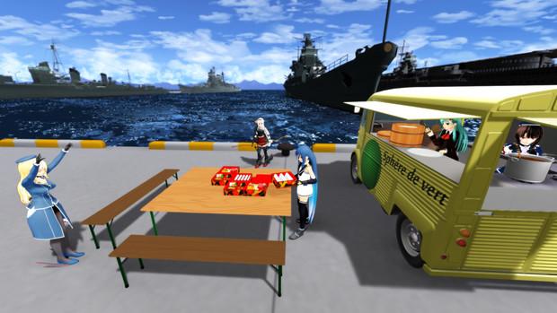 【MMD艦これ】リク応版の撮影終了後、昼食準備中の一枚。