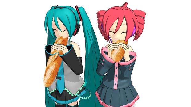 フランスパン食べる