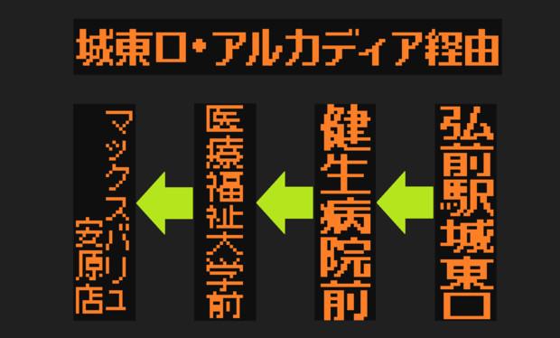 城東安原線のLED方向幕(弘南バス)