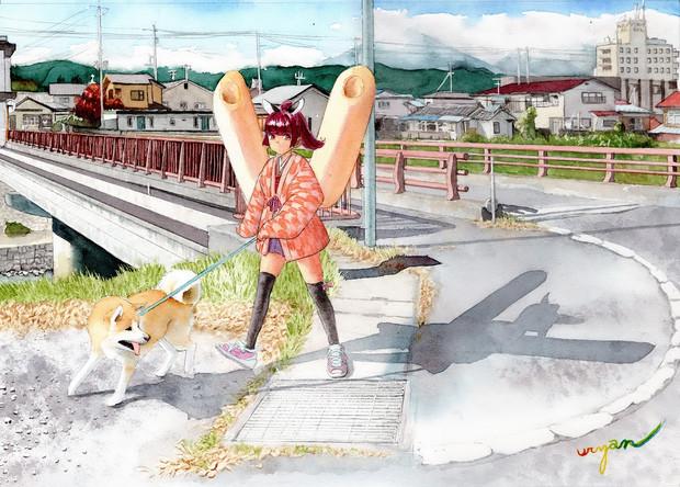 【白石市内で犬の散歩中】東北きりたん