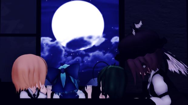 【第13回東方ニコ童祭】夜空に月が浮かんでいる