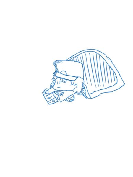【オリキャラ】布団でゲーム【イラスト】