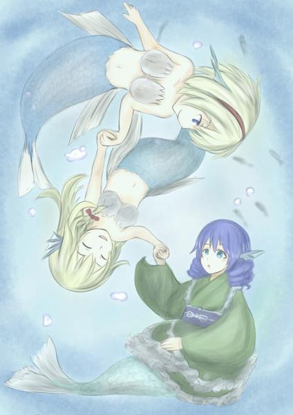 人魚魔理沙と人魚アリスとわかさぎ姫