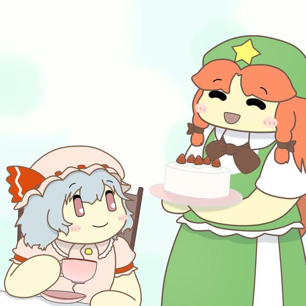 お嬢様にケーキを持ってくる美鈴