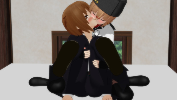 恥ずかしい体勢でキスされる若葉