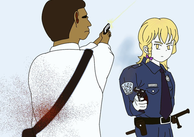 重大犯罪者を射撃するRI巡査