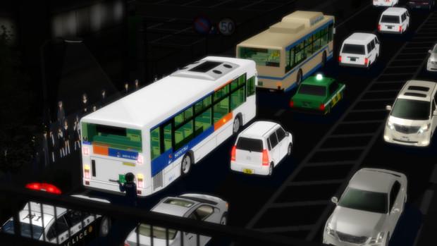 横浜市を走るバスの接触事故現場