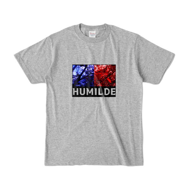 Tシャツ   杢グレー   HUMILDE_Blue&Red
